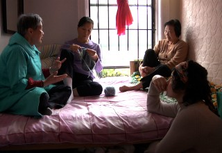 "Still from ""Your Day is My Night"". From left: Sheut Hing Lee, Linda Chan, Ellen Ho, and Veraalba Santa (""Lourdes"")"